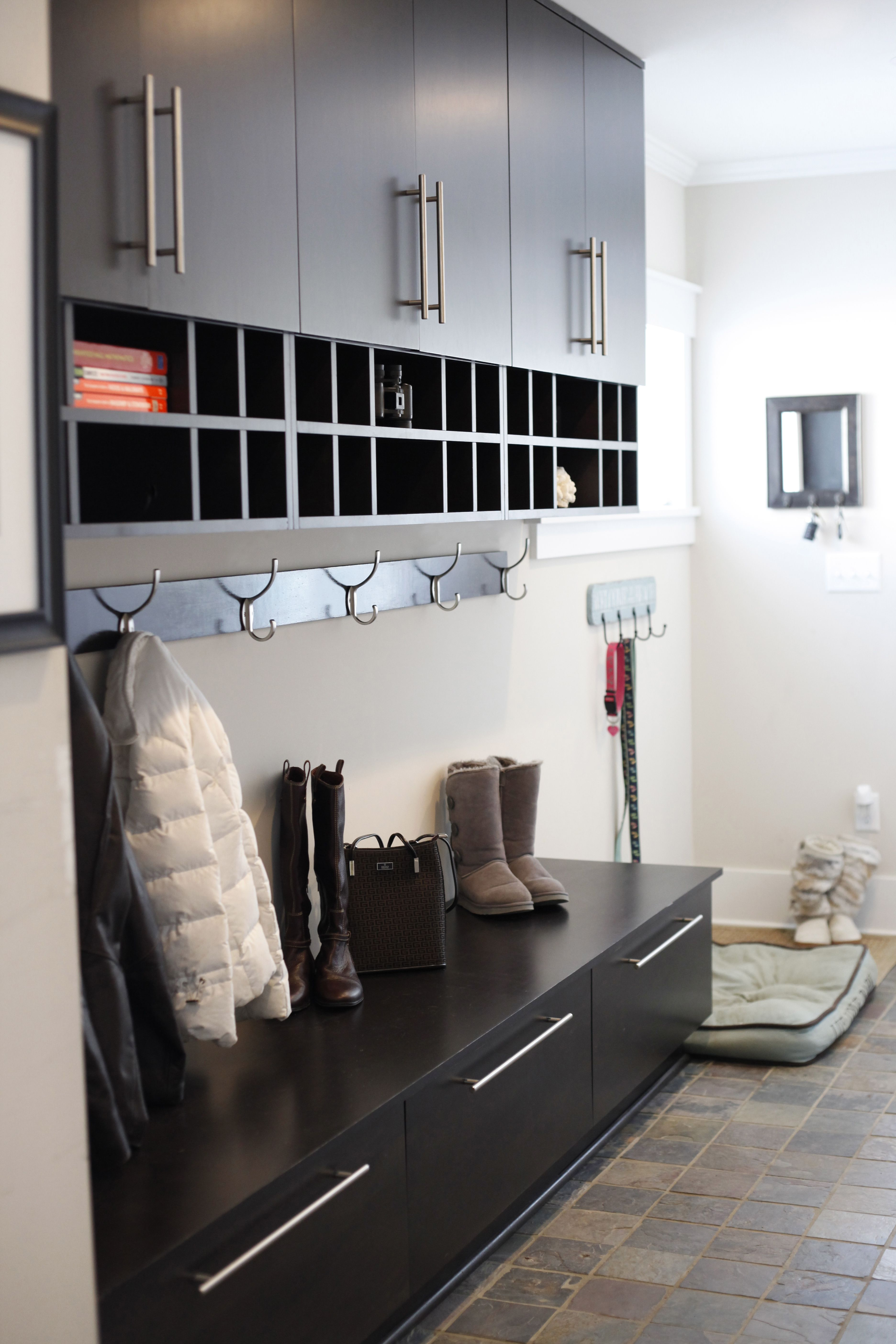 A mudroom is perfect to keep the out from coming in - perfect for a doggy  bed and shoes, coats and extras. The lower hooks are a great place for keys  and ...