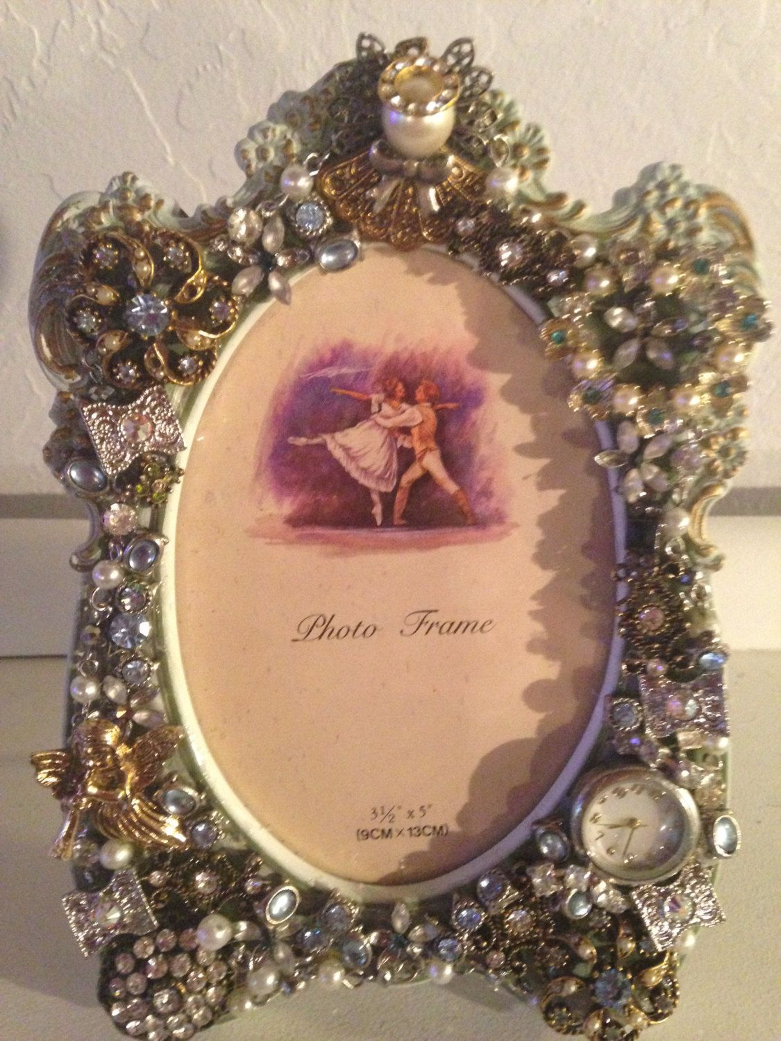 Jeweled Picture Frame Antique Frame 312 X 5 With Antique Brooches