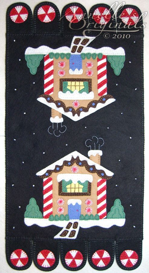 Christmas Winter Snowy Penny Rug Mat Wool Applique PATTERN & Wool Felt KIT Holiday Ginger Bread House Needlecraft Primitive Black by PennyRugsPlus on Etsy https://www.etsy.com/listing/86558892/christmas-winter-snowy-penny-rug-mat