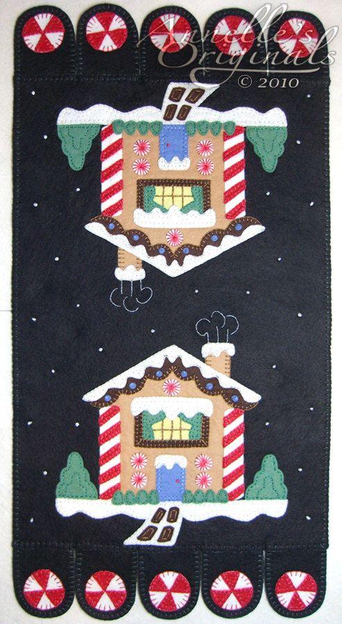Christmas Winter Snowy Penny Rug Mat Wool Applique PATTERN & Wool Felt KIT Holiday Ginger Bread House Needlecraft Primitive Black by PennyRugsPlus on Etsy https://www.etsy.com/listing/86558892/christmas-winter-snowy-penny-rug-mat