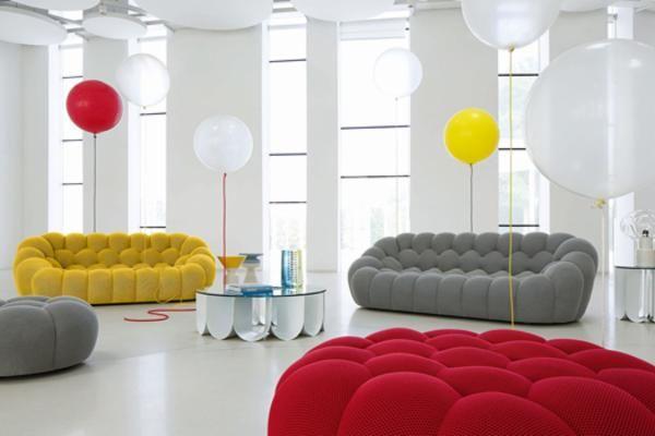Pouf Soggiorno ~ Soggiorno collezione les contemporains con divano e pouf bubble