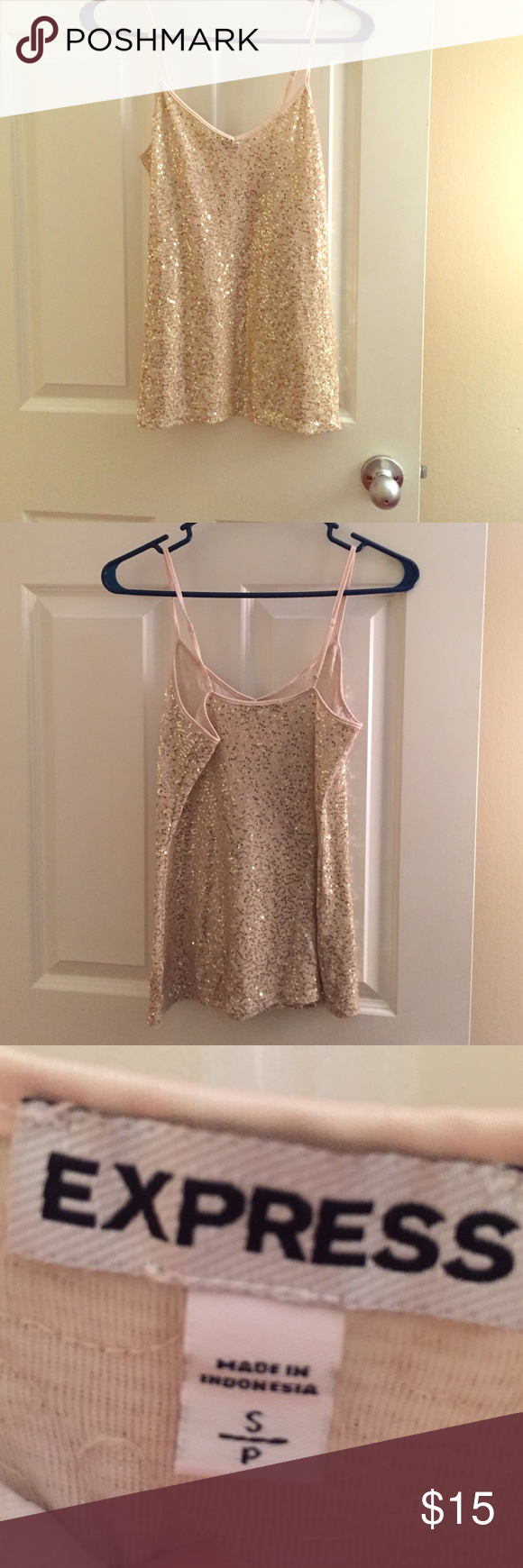 Sequins Express Tank Top Spaghetti Strap tank top. Gold Sequins. S. Express. Express Tops Tank Tops