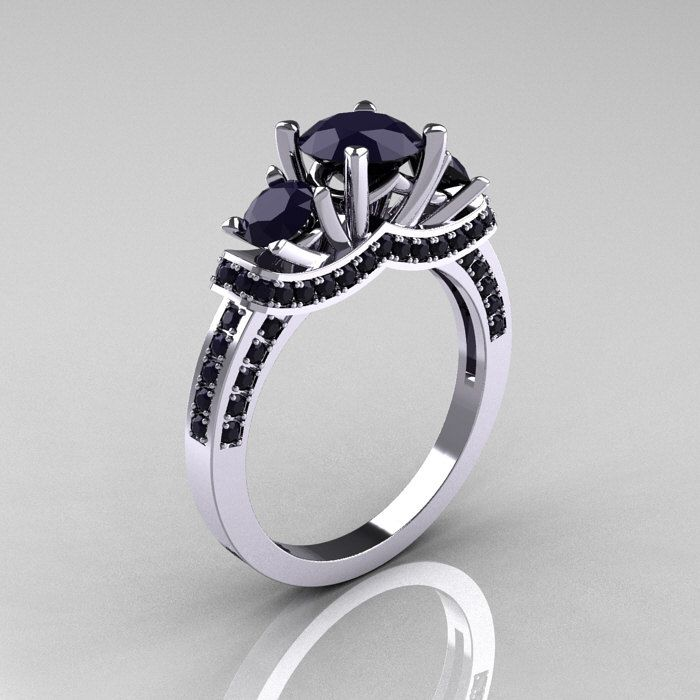 French Platinum Three Stone Dark Blue Sapphire Wedding Ring