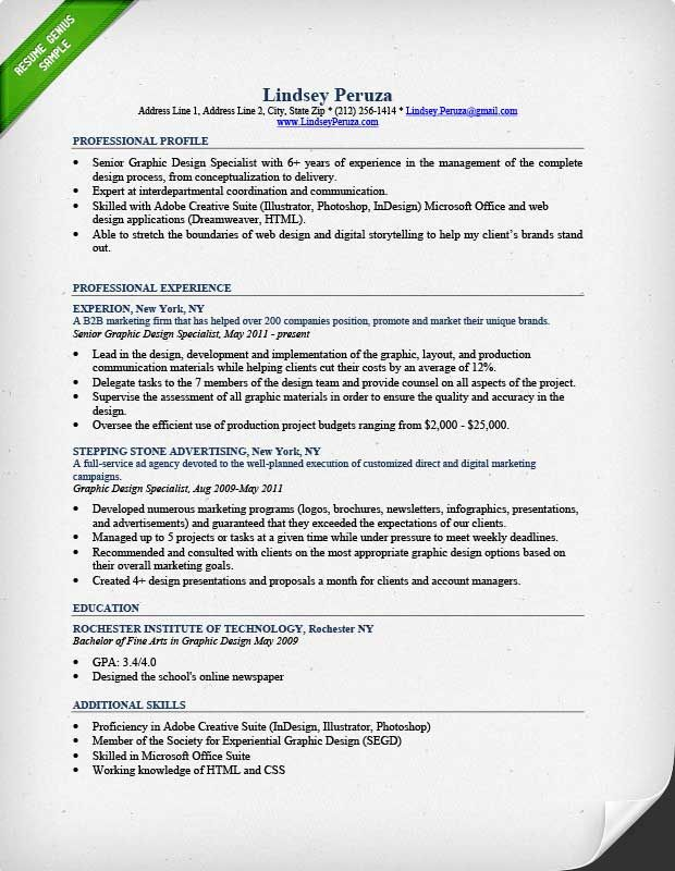 Graphic Design Resume Sample ResumeGenius Cover Letters - resume template design