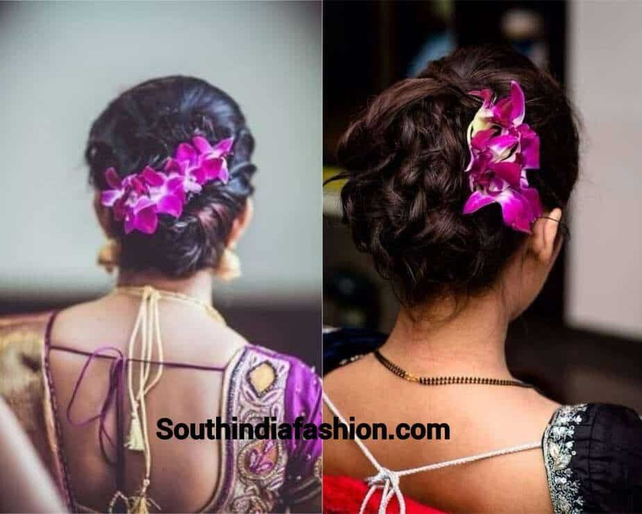Indian Wedding Bun Hairstyle With Flowers And Gajra Bun Bun Hairstyles With Gajra Flowers Gajra Hairstyle In Bridal Hair Buns Bun Hairstyles Hair Styles