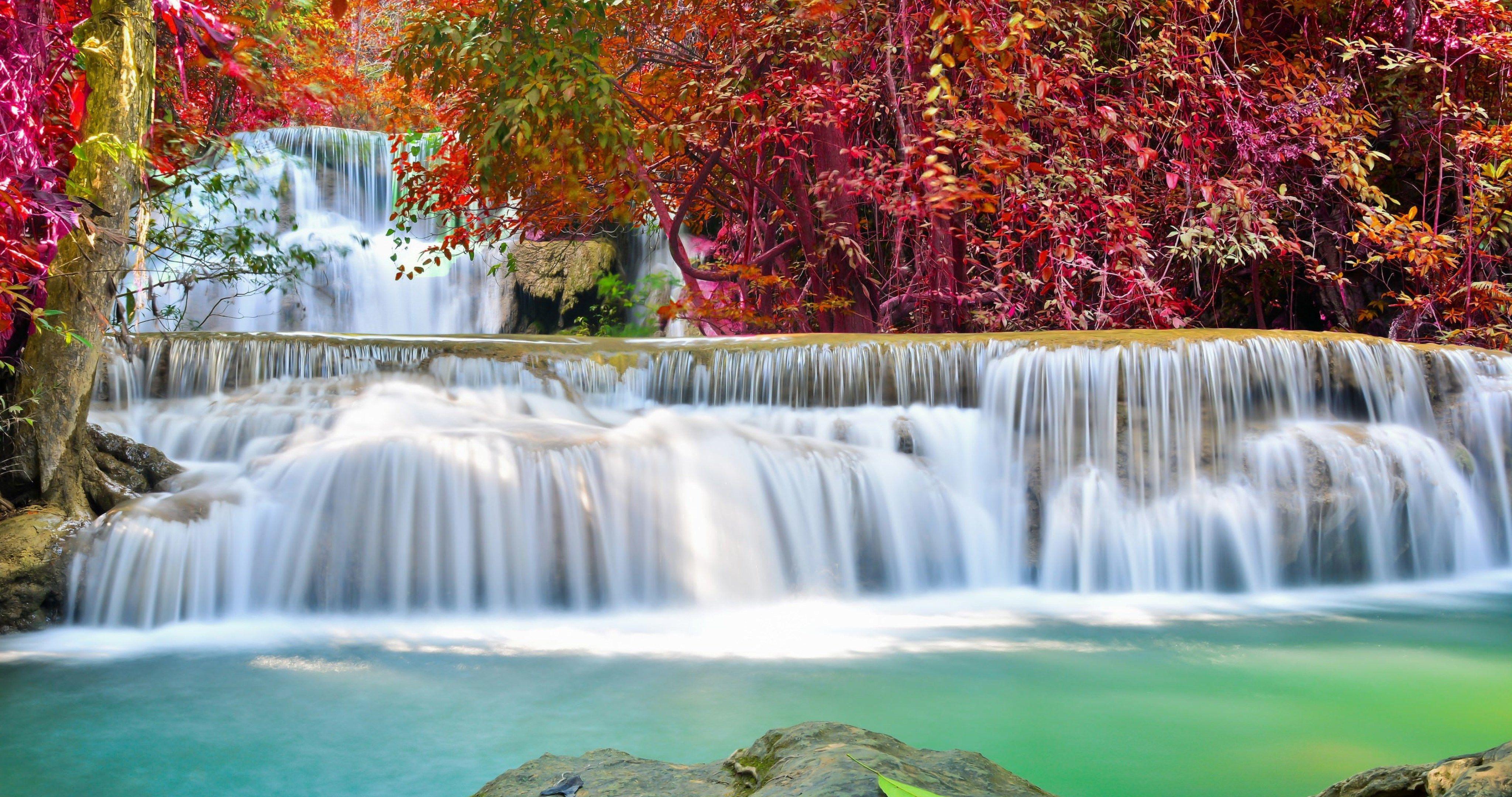 Autumn Waterfall 4k Ultra Hd Wallpaper Waterfall Wallpaper Waterfall Autumn Waterfalls