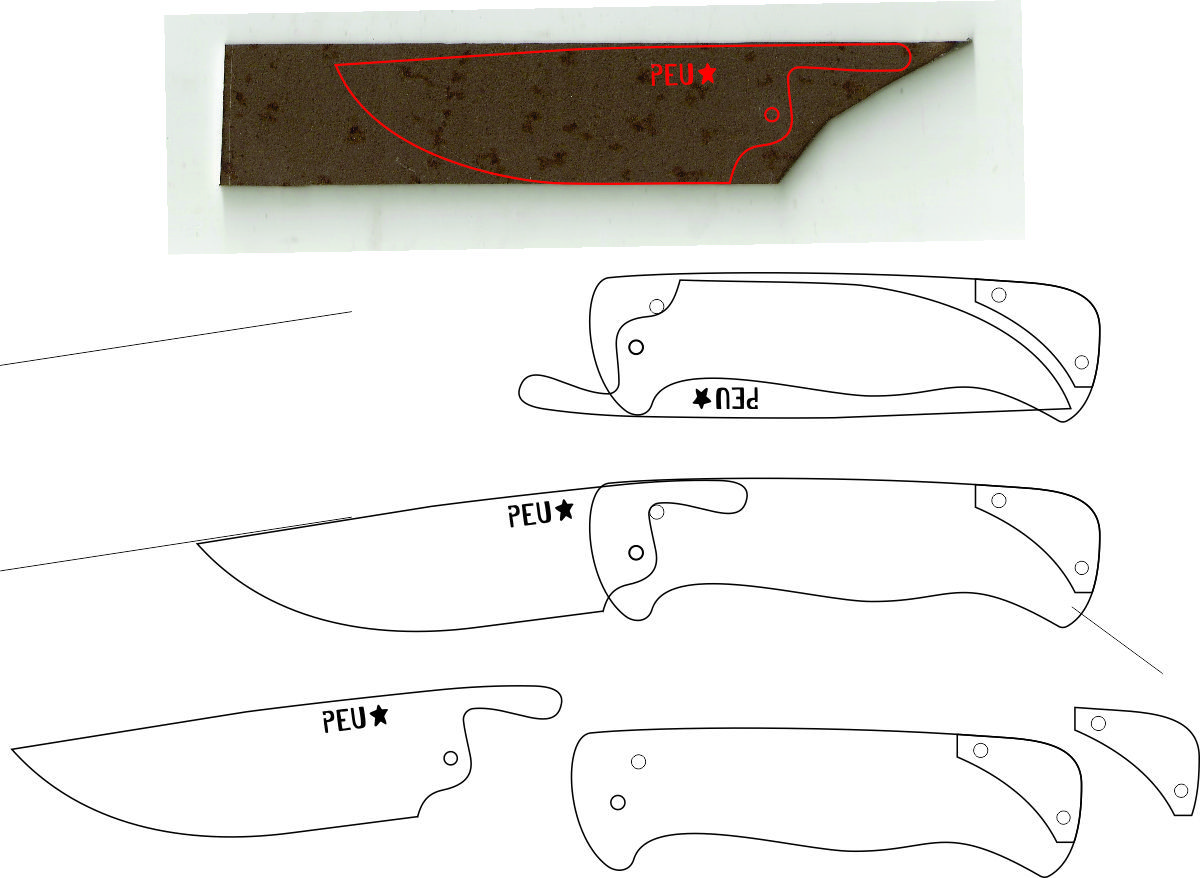 photograph relating to Printable Folding Knife Templates named Friction Folding Knife Template Knife style Friction