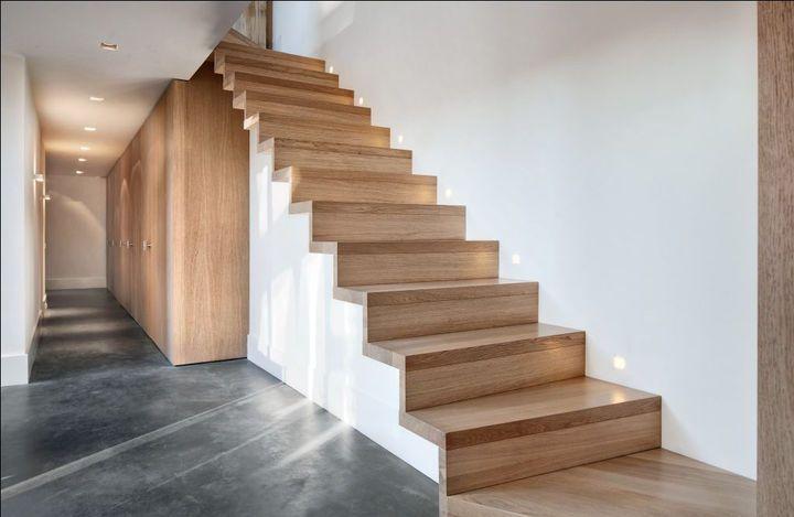 Trap uit juiste hout huis pinterest hout trappen en for Open trap bekleden met hout