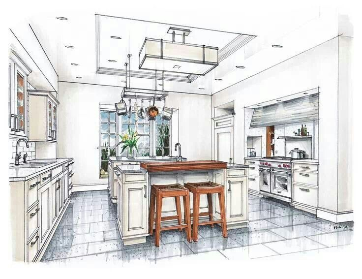 Innenarchitektur skizze küche  Kitchen design | Perspectives | Pinterest | Design, Küchen Design ...