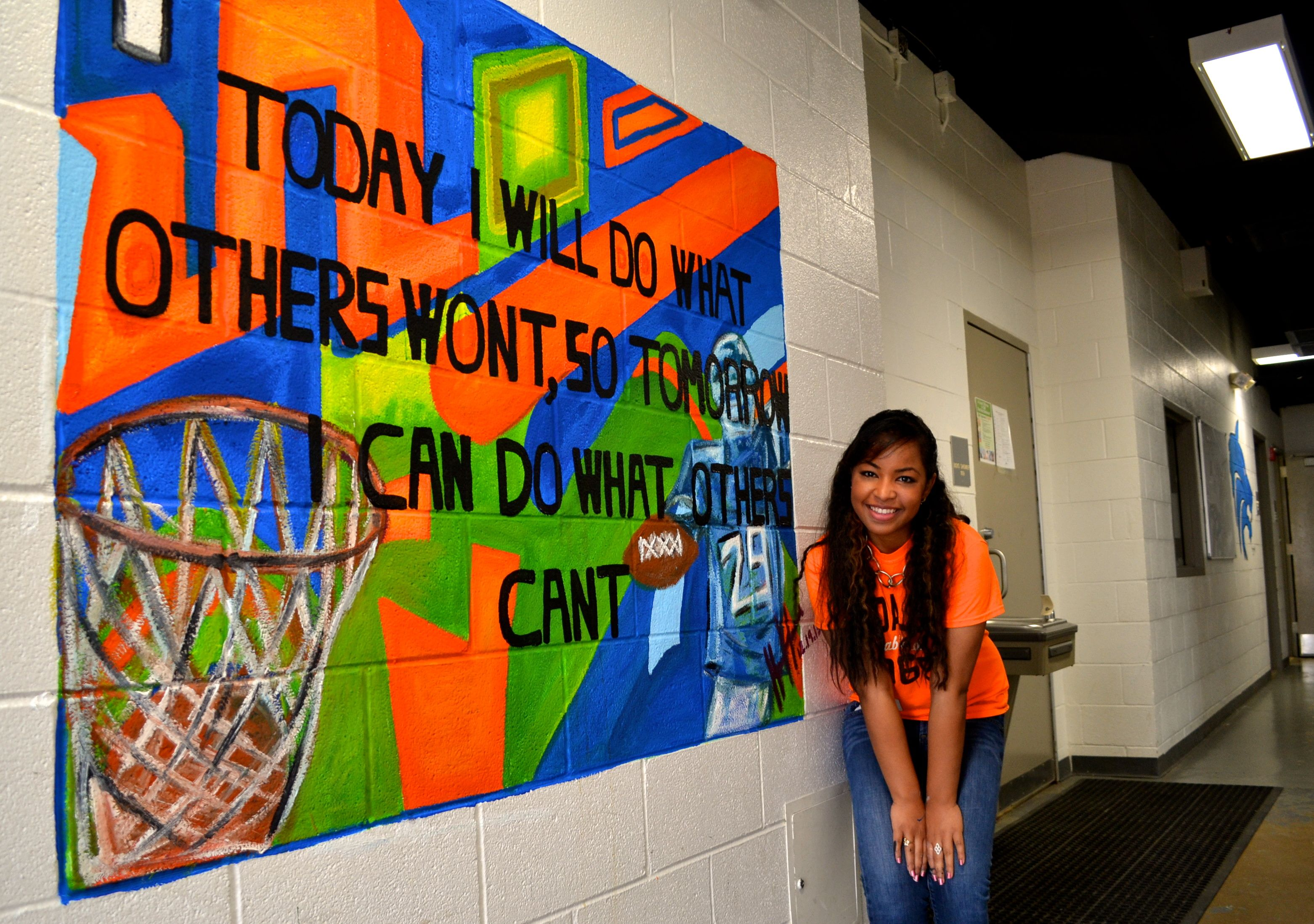 Inspirational middle school gym mural mural painting