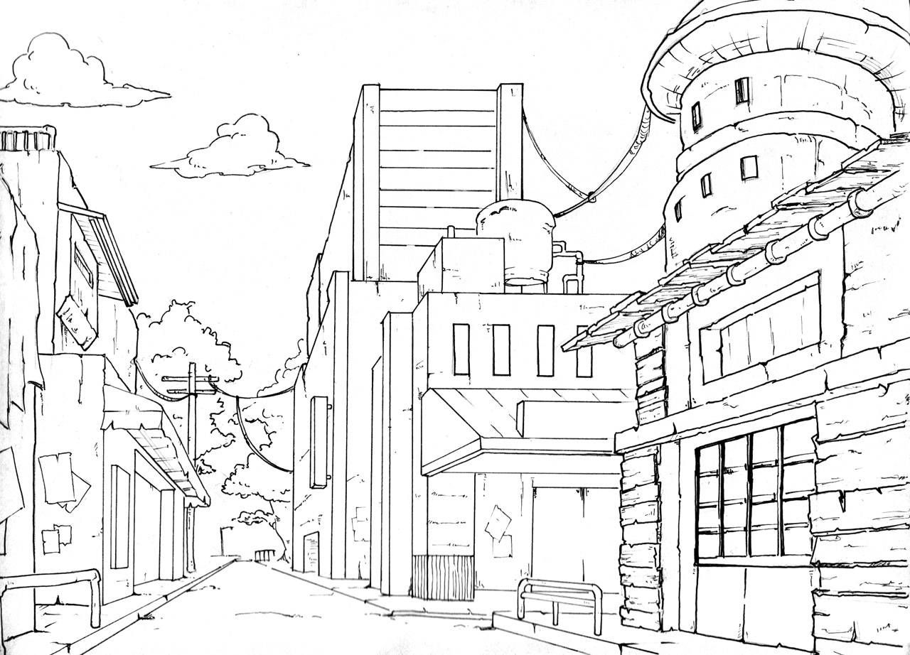 Perspective Drawings Of Buildings drawing buildings in one point perspective | perspective