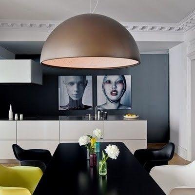 Classic Apartment With Modern Decor Dining Room Pendant Pendant Lighting Dining Room Oversized Pendant Light