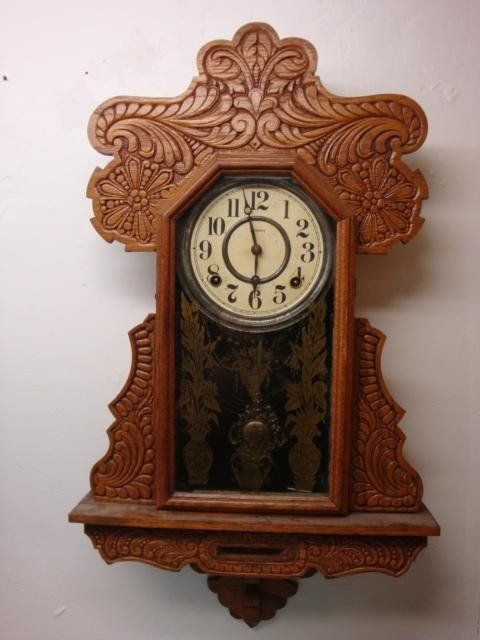 Ingraham Oak Gingerbread Wall Clock Stenciled Tablet Lot 148 Clock Wall Clock Vintage Clock