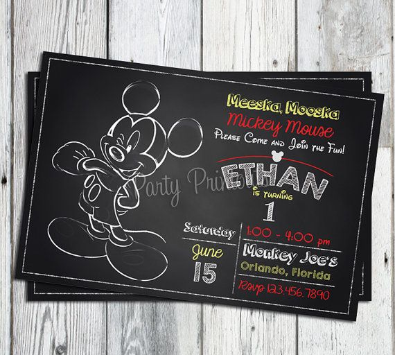 Mickey Mouse 1st Birthday Invitations: Printable Chalkboard style invitation, Matching Party Printables Available.