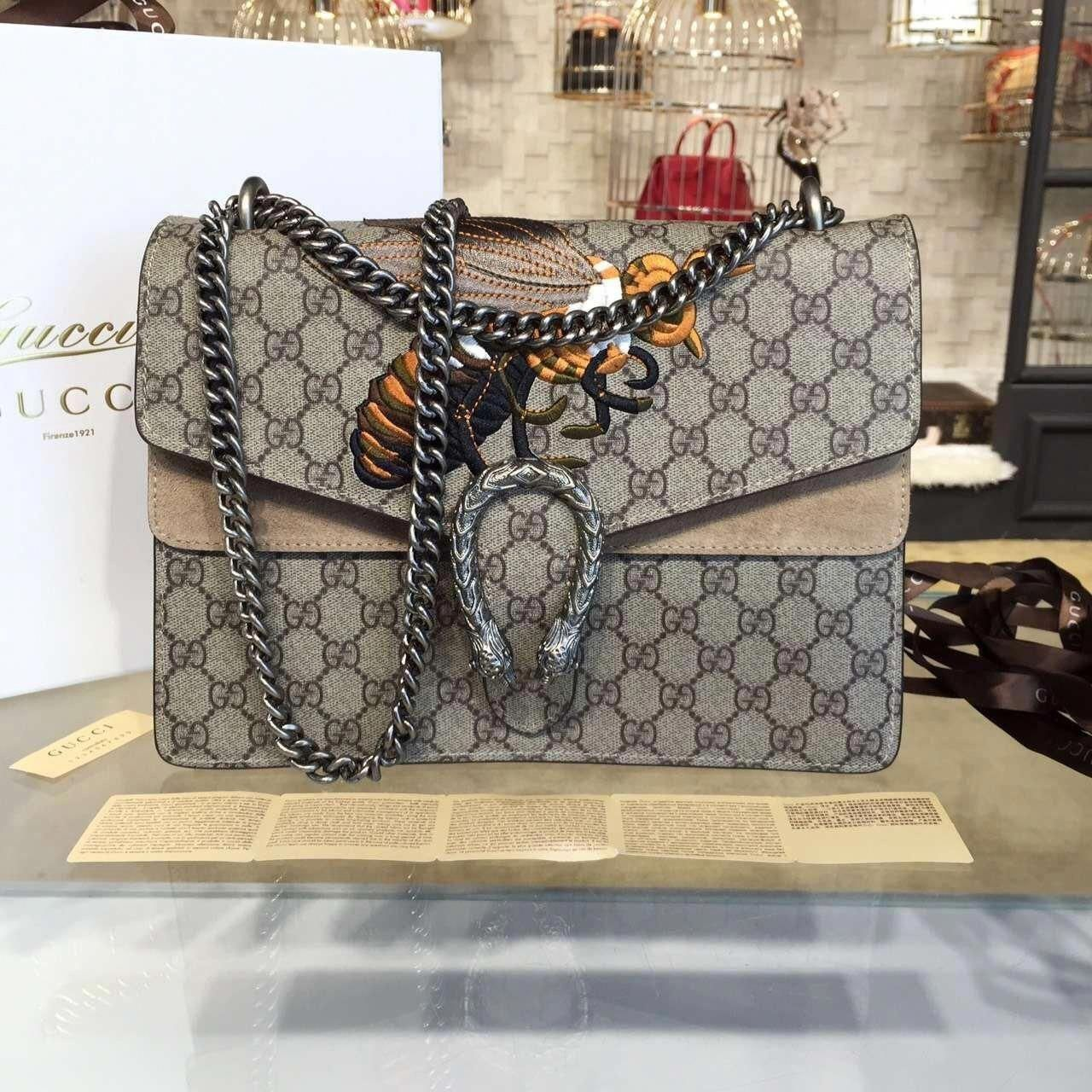 de6f2b8336a Gucci Dionysus GG Supreme Canvas Shoulder Large Bag with Bee Embroidery Fall  Winter 2016 Collection