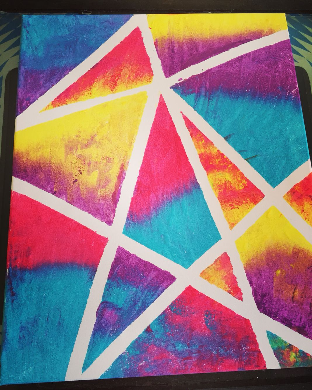 Canvas Painting Using Masking Tape Painters Tape Art Diy