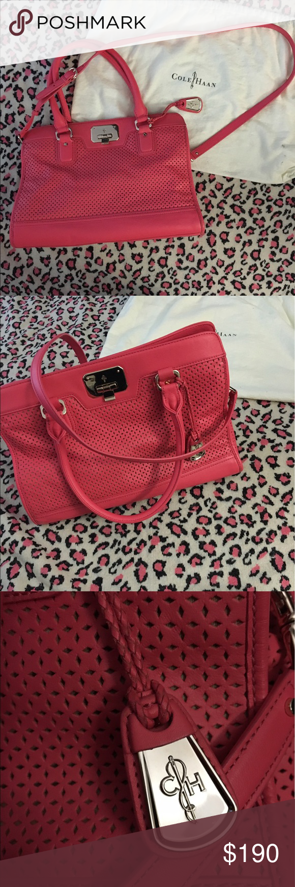"Cole Haan Vintage Valise Kendra E/W in punch pink Super funky leather handbag in perfect condition. This beauty needs much more love than it was given 💕! Used just one time. Shoulder/cross body bag, semi-structured, with dust bag, serial #B42910. Measurements: height 10"", length 14"", width 6"" (naturally). (Inv#L18) Cole Haan Bags Crossbody Bags"