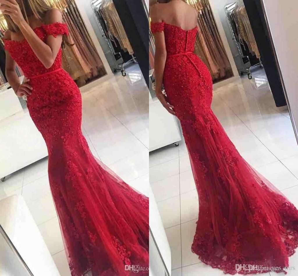 2018 Prom Dresses Off Shoulder Dark Red Lace Appliques Beaded ...