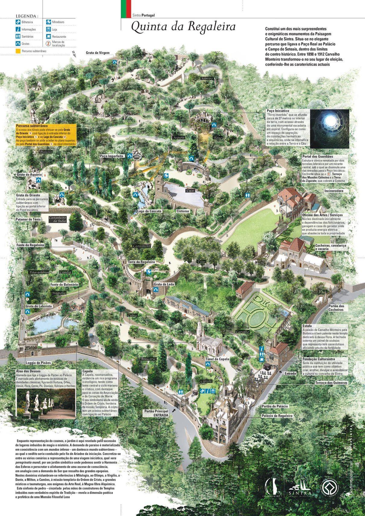 quinta da regaleira mapa Mapa da Quinta da Regaleira   Sintra  Portugal   Portugal  quinta da regaleira mapa