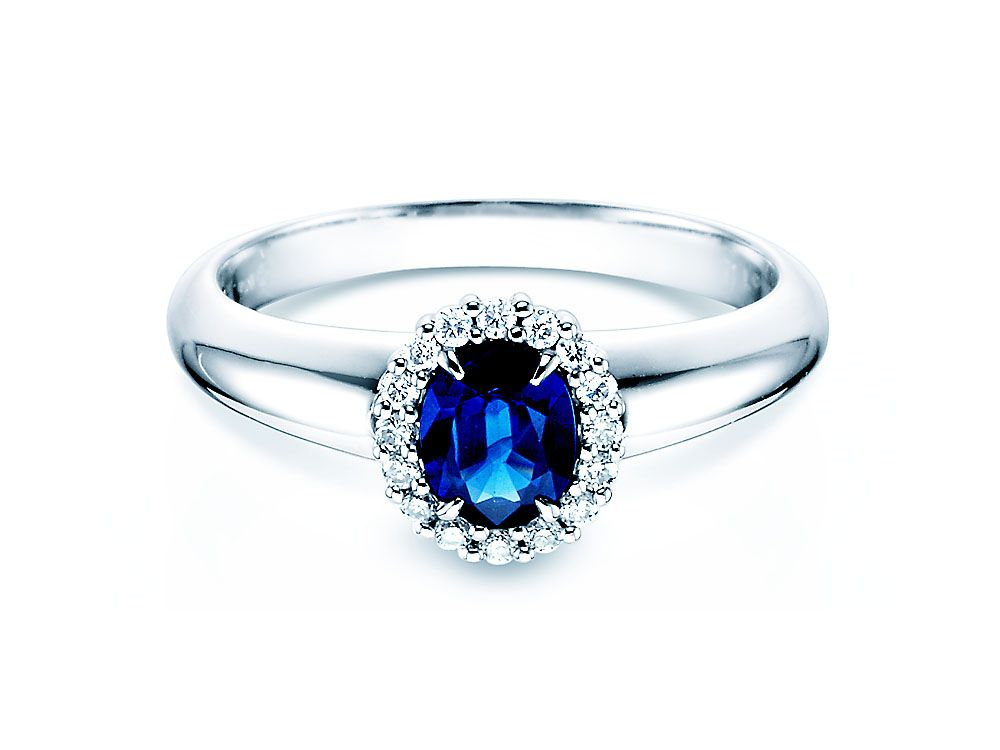 Saphir Verlobungsring Windsor in 14K Weißgold mit Diamanten 0 12ct