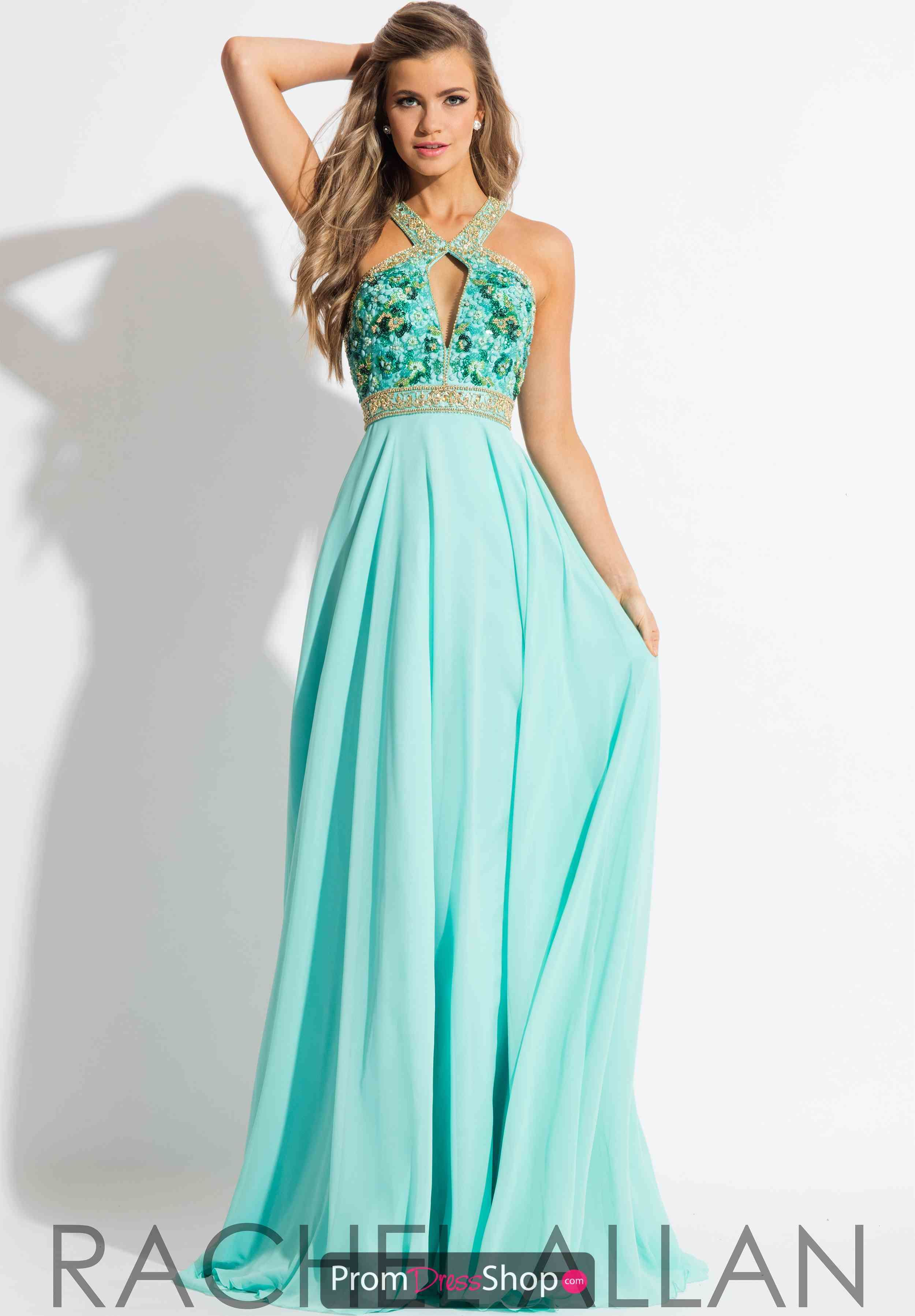 Gorgeous green prom dress  Rachel Allan Long Chiffon Dress   Chiffon dress Prom and Neckline