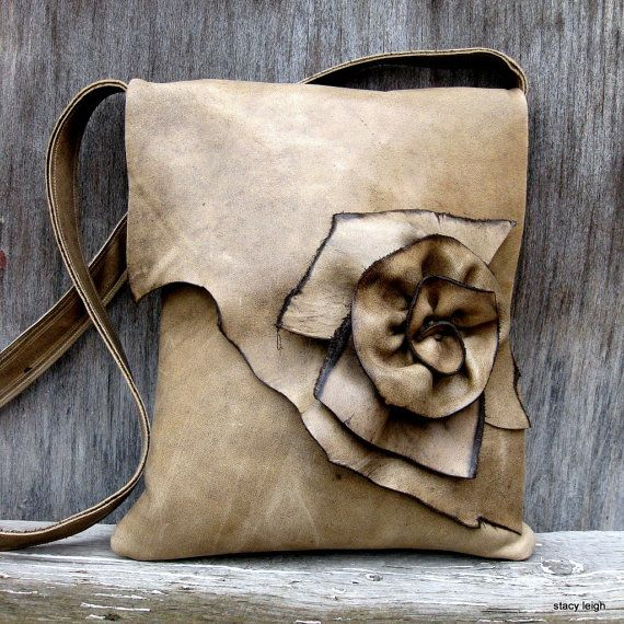 Soft Taupe Natural Edge Rose Leather Bag by Stacy Leigh Made from an awesome leather that is both heavy and soft, its nicely distressed and easy to