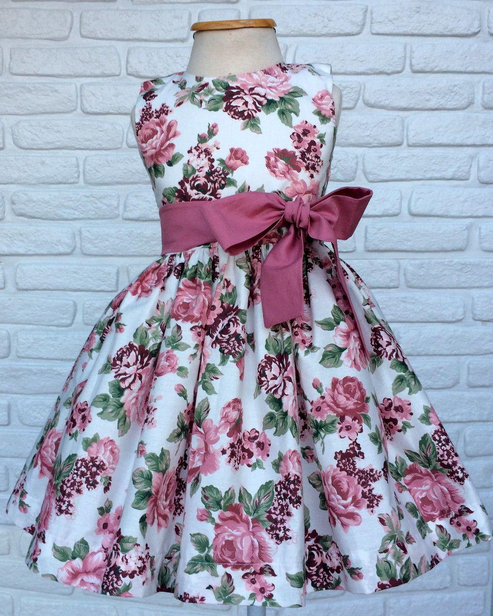 586f1dbdd Vestido Festa Floral com fundo off white e faixa Rosa seco Lindo vestido de  Festa para