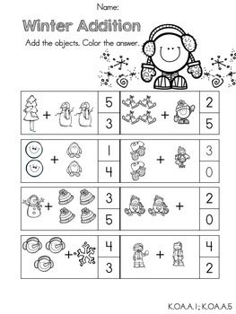 math worksheet : winter picture addition part of the kindergarten common core  : Kindergarten Common Core Math Worksheets