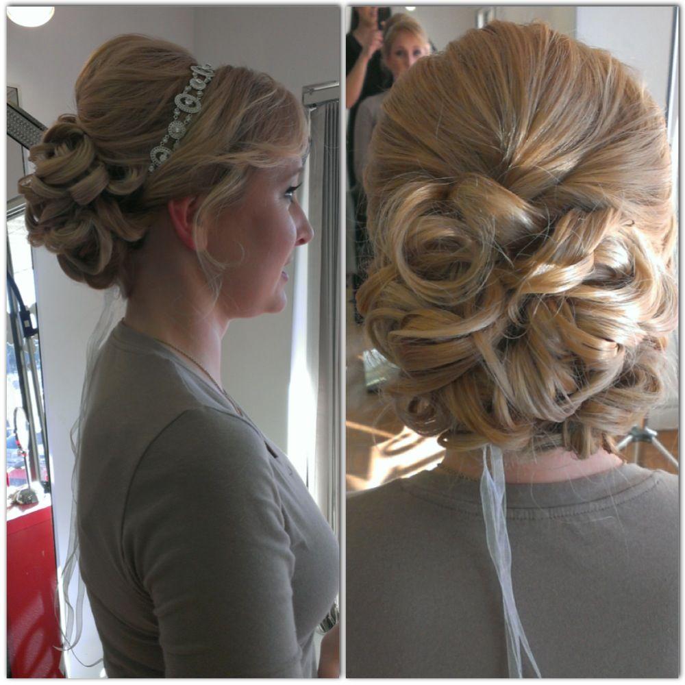 Bridal hair wedding hair updo curly bun curls wedding hair