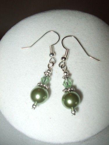 3 Dollar Earrings - Sage Green Crystal and Pearl Elegance Earrings