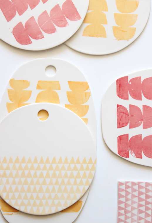 Graphic pastel cheese plates