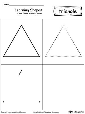 Learning Shapes Color Trace Connect And Draw A Triangle Learning Shapes Triangle Worksheet Shapes Worksheets