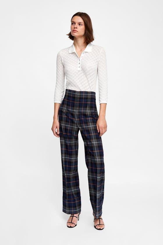 Pantalon Cuadros Vuelta Bajo Zara Mujer Pantalones Pantalones Ropa