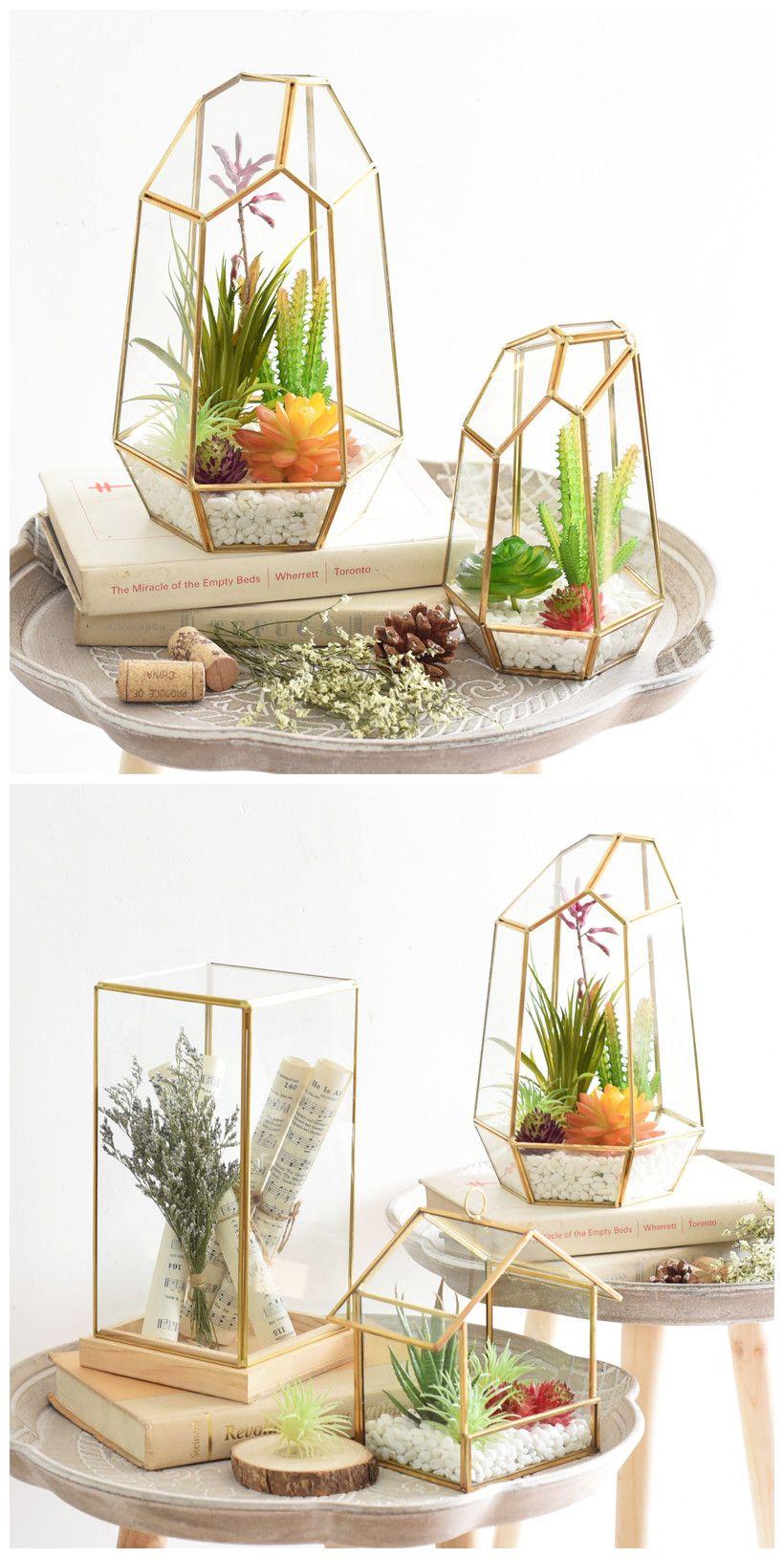 Large Irregular Polyhedral Geometric Glass Terrarium Lantern