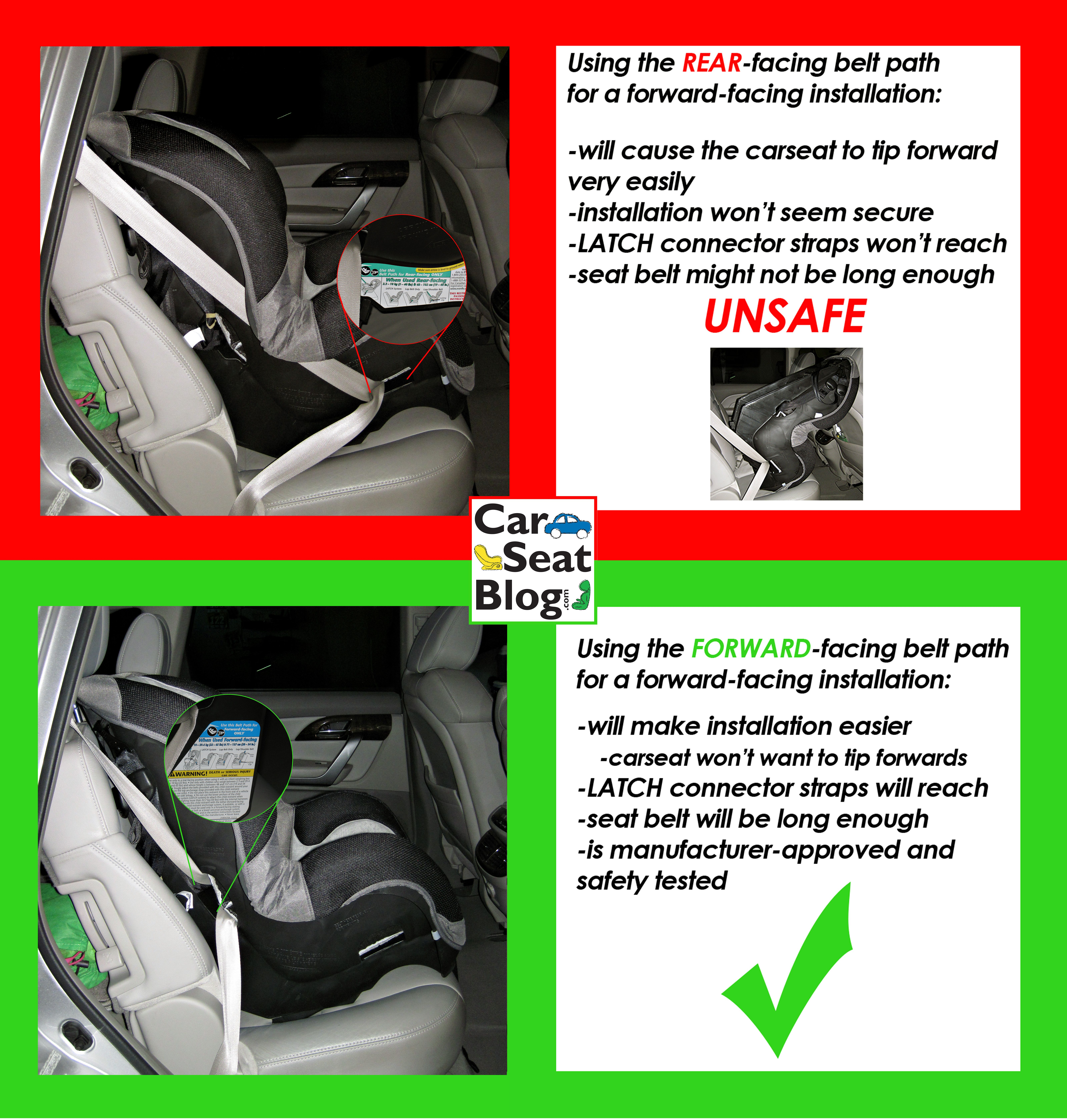 Using The Wrong Belt Path To Install Your Forward Facing Carseat Can Be Dangerous