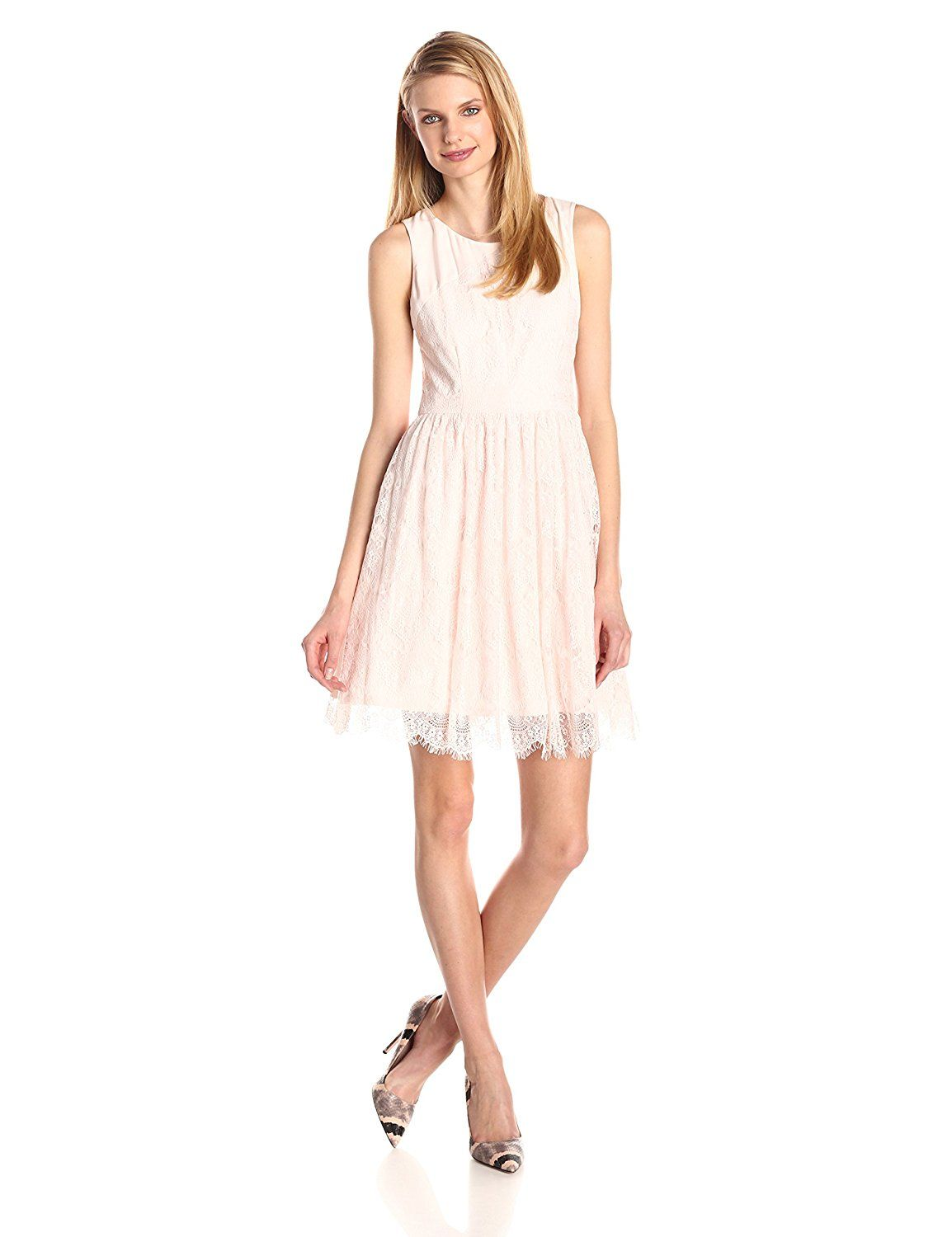 Amazon jessica simpson womenus lace fitandflare dress