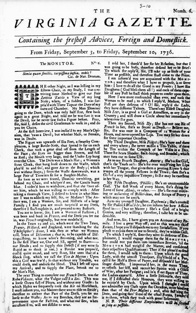 Virginia Gazette By Issue