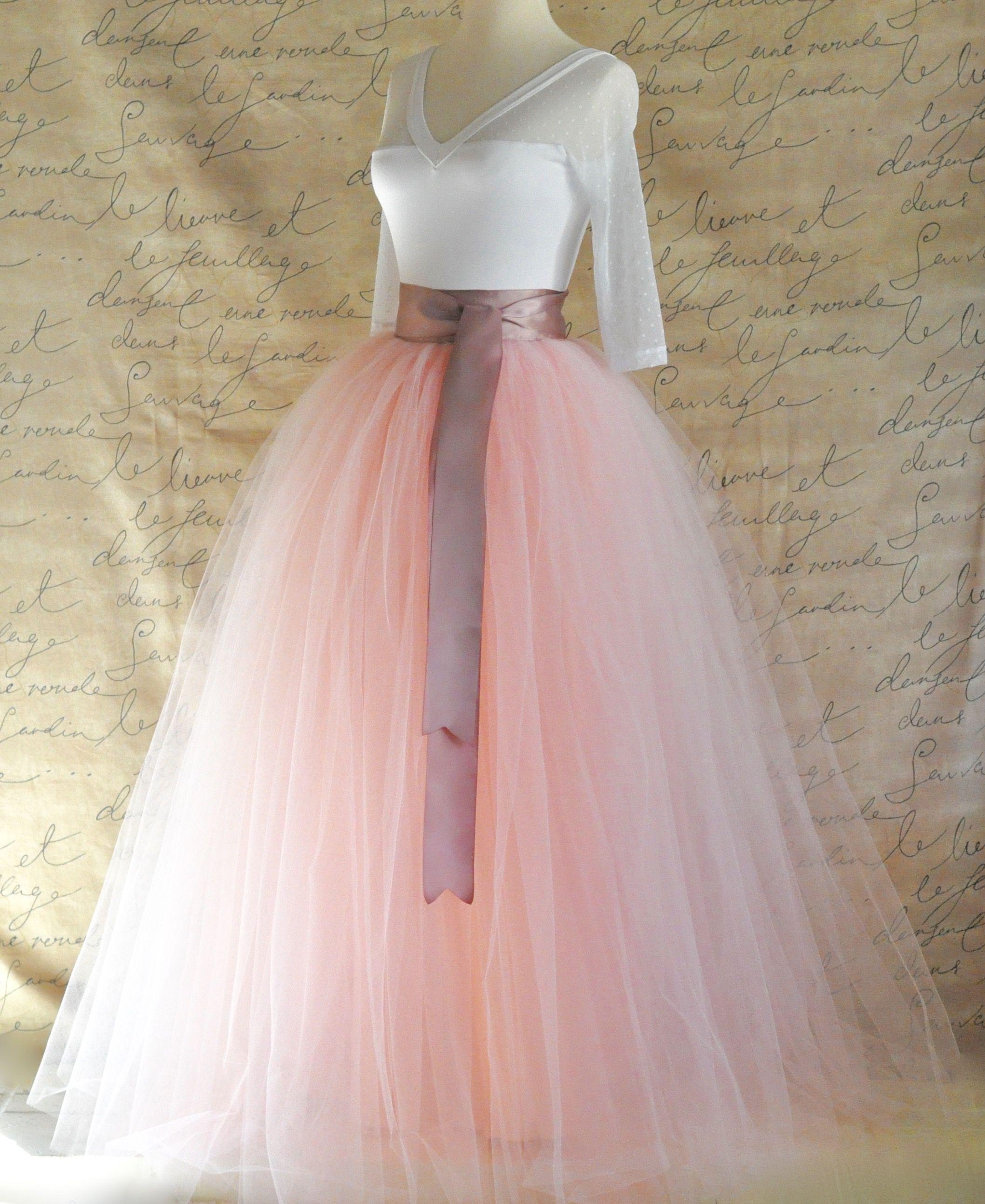 Full length tulle skirt for women in light pink and antique pink ...