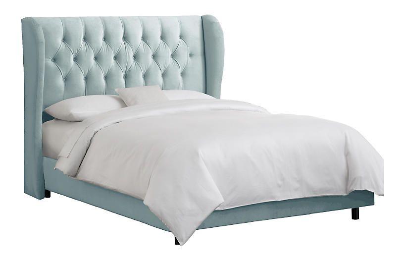 Best Reed Wingback Bed Light Blue Velvet Cal King Velvet 400 x 300