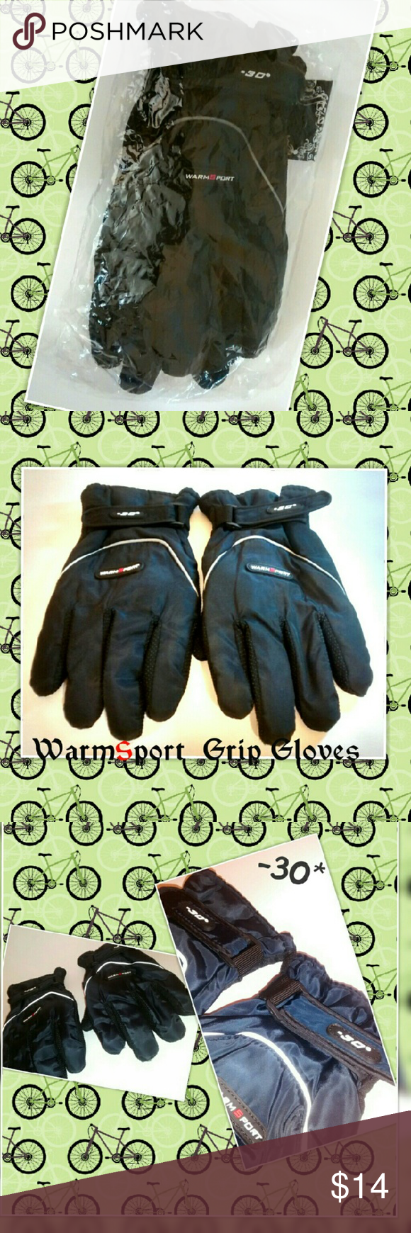 WarmSport Blue (-30?) Adjustable Sport Grip Gloves These gloves are new in package.  Only tried on.  Color: Blue  Men's Size Large I believe.  Adjustable wrist straps.  Finger and Palm Grip texture.  Interior fleece material.  -30? temps and I believe they are waterproof.   Smoke and Pet free home. WarmSport Accessories Gloves