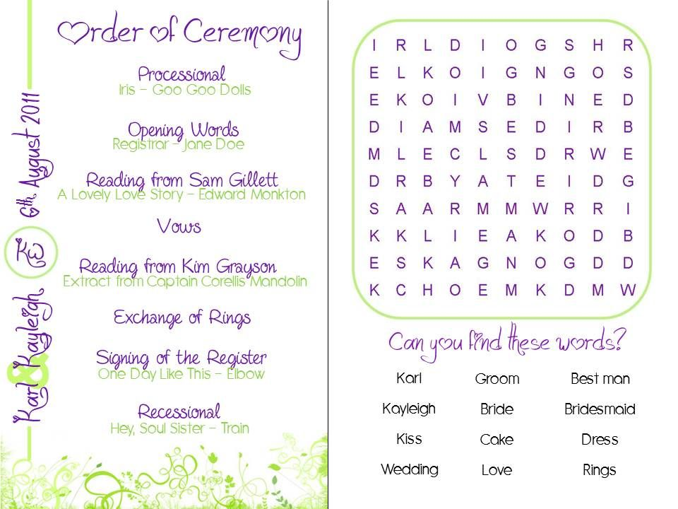 Ceremony And Reception Program  Google Search  Weddings