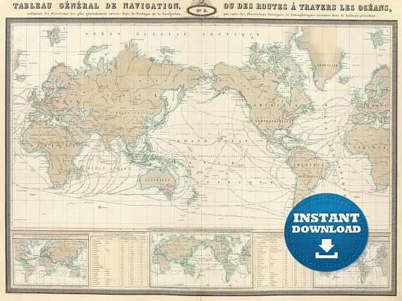 Digital Old World Map Hight Printable Download Vintage World Map - Large world map print out