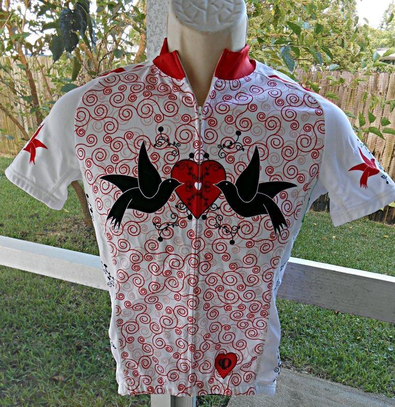 Pearl Izumi Women S Elite Zip Cycle Bike Shirt Jeresy Back Pockets Doves Hearts #PearlIzumi #0877Spring2012Dec2011