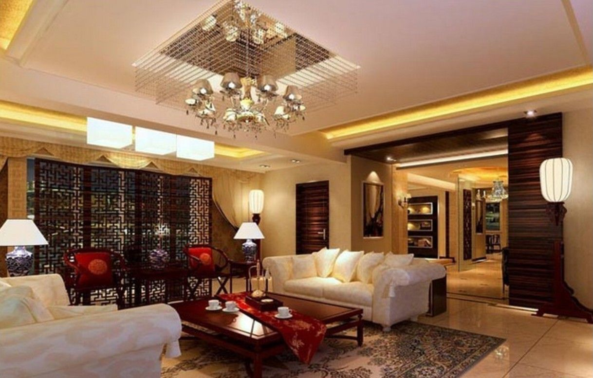 Appealing modern chinese beige and white living room for Oriental furniture living room
