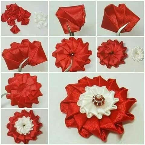 Pin By Spolecznosc Sp Lipowiec K On Manualidades Ribbon Flowers Fabric Flowers Diy Satin Ribbon Flowers