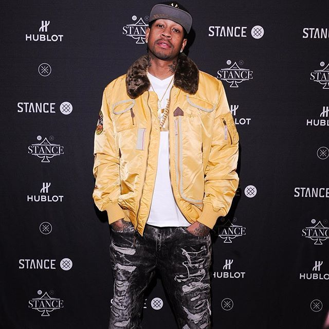 c227c35736a Newest Hall of Fame feature Allen Iverson spotted in Alpha Industries'  Injector Flight Jacket.