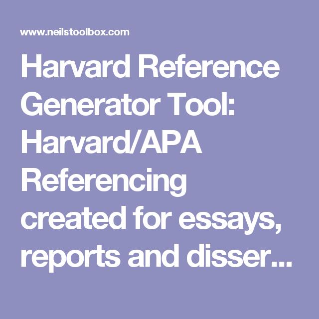 Harvard Reference Generator Tool Harvardapa Referencing Created  Harvard Reference Generator Tool Harvardapa Referencing Created For Essays  Reports And Dissertations  Neils Toolbox