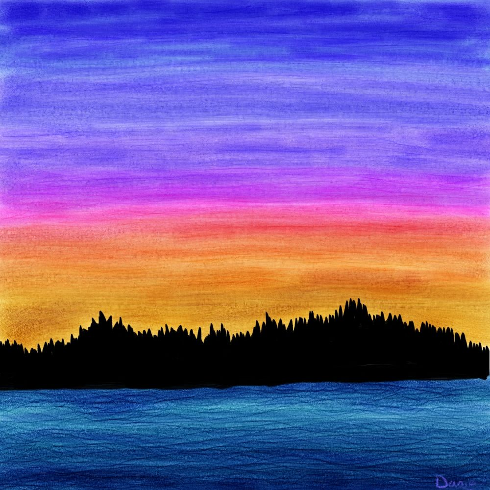 Sunset On The Inlet Sunrise Painting Easy Landscape Paintings