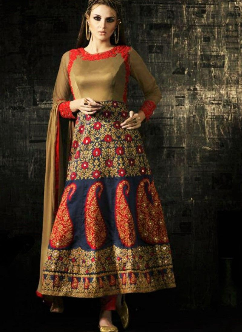 Red blue and gold net and banglori silk suit anarkali pinterest