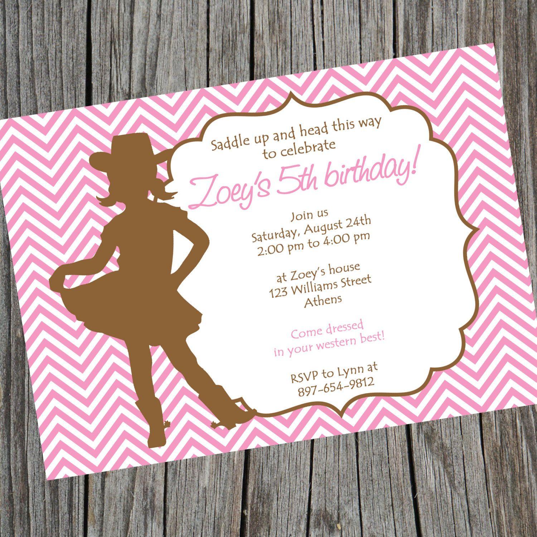 Printable Cowgirl Chevron Birthday Invitation. Cowgirl Baby Shower ...